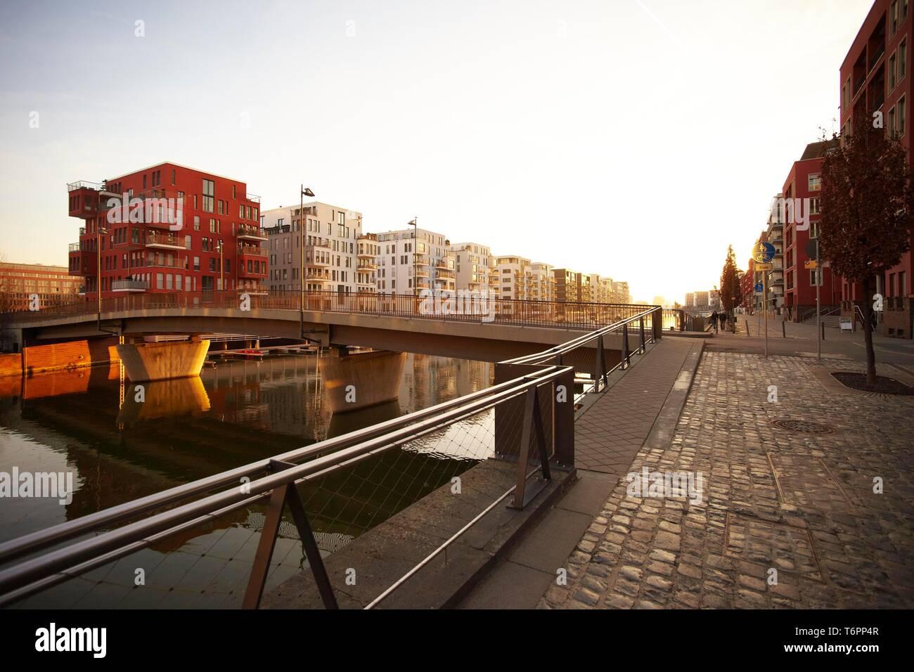 Westhafen port, Frankfurt, Hesse, Germany, Europe Stock Photo