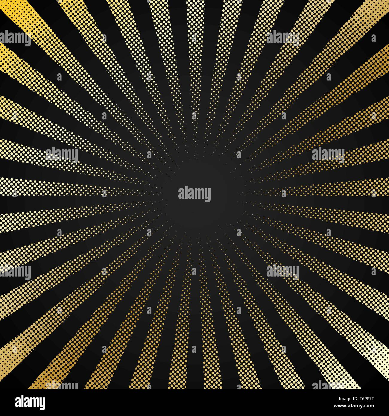 Abstract retro shiny starburst black background with gold dots pattern texture halftone style. Vintage rays backdrop, boom, comic. Cartoon pop art tem - Stock Image