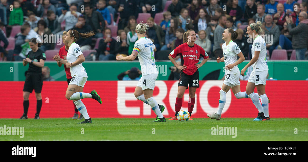 Cologne, Germany May1 2019, women football cup final, VFL Wolfsburg vs SC Freiburg: goal celebration 1-0 Ewa Pajor (Wolfsburg)     DFB REGULATIONS PRO Stock Photo