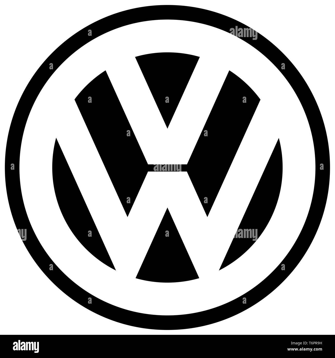 Volkswagen, black VW logo, corporate identity, optional, white background, Germany - Stock Image