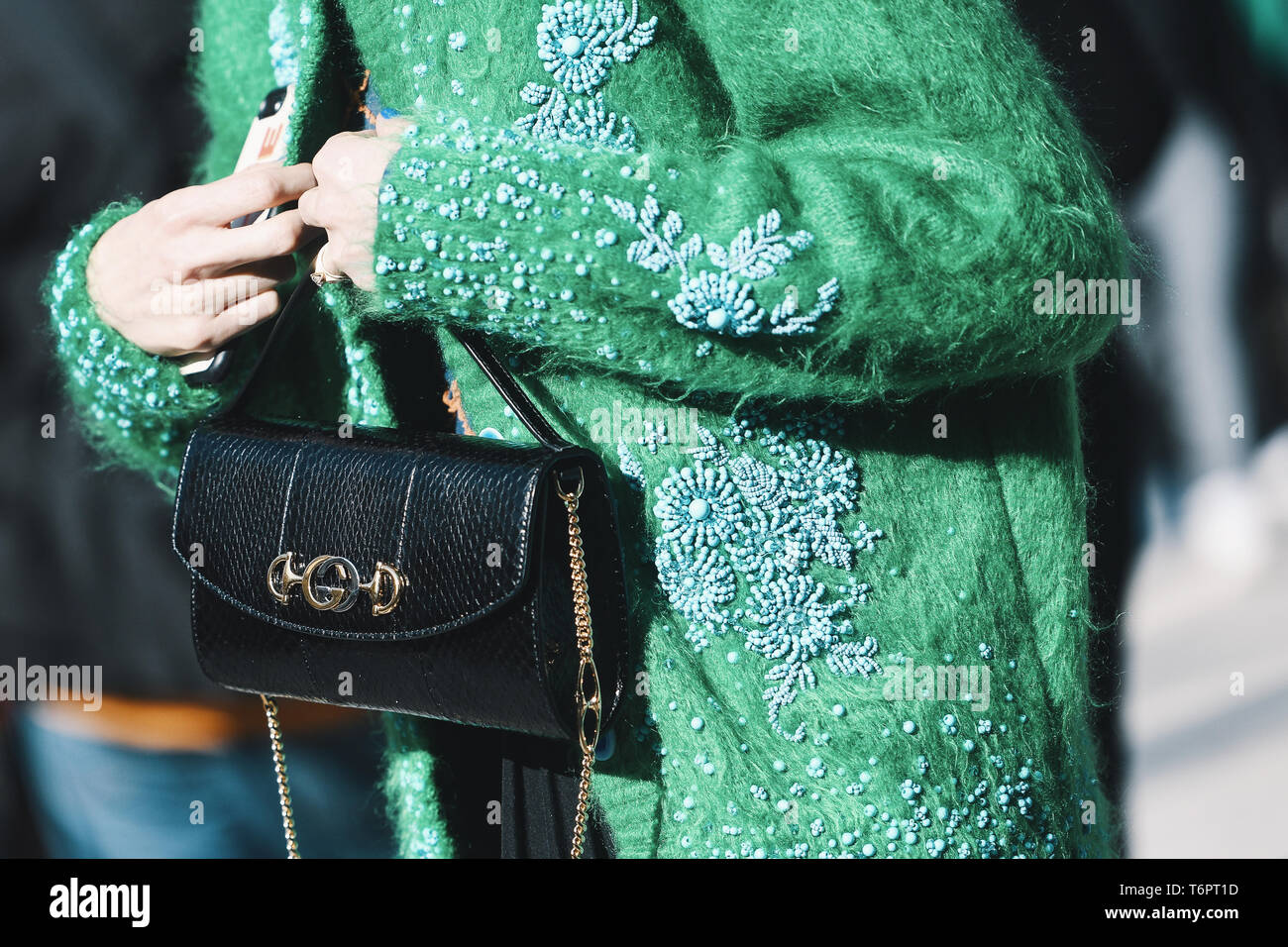 a96f3533 Milan, Italy - February 22, 2019: Street style – Gucci purse detail after