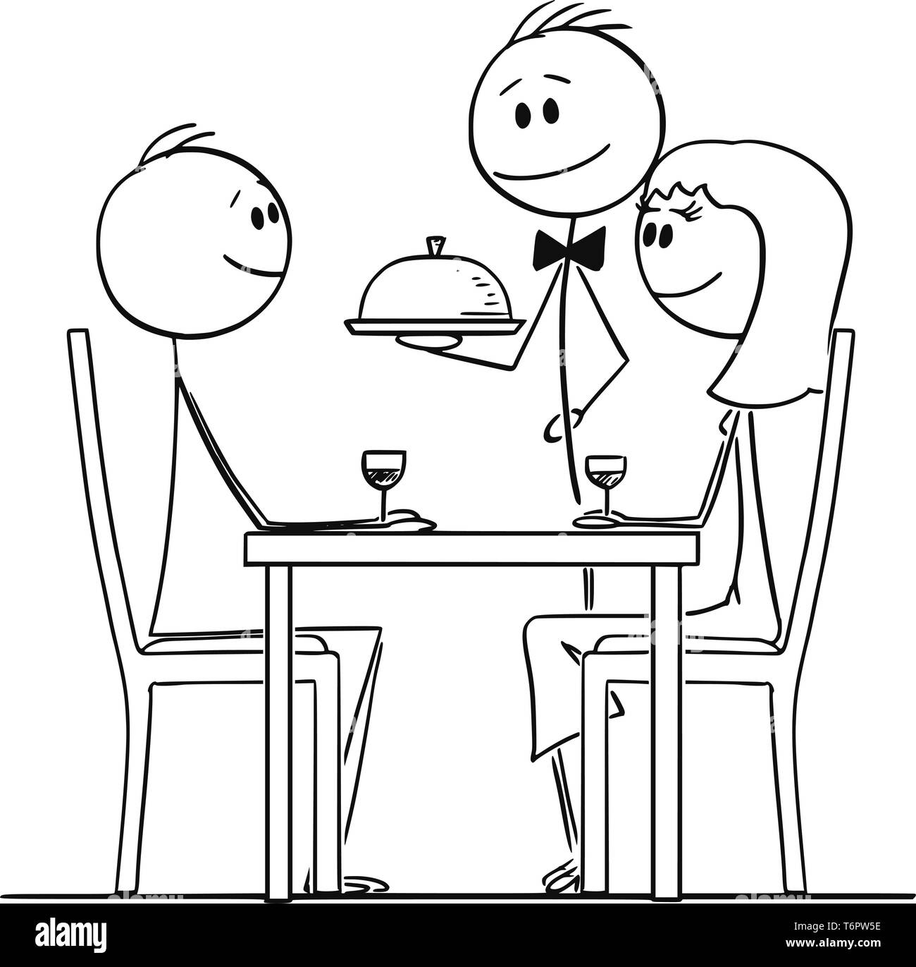Cartoon stick figure drawing conceptual illustration of loving couple of man and woman sitting behind table in restaurant and watching waiter serving food. - Stock Vector