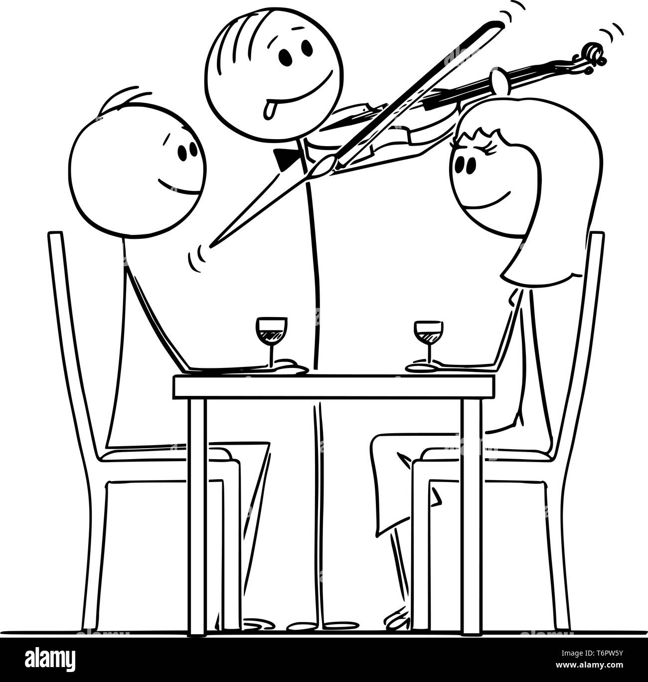 Cartoon stick figure drawing conceptual illustration of loving couple of man and woman sitting behind table in restaurantwhile violinist is playing romantic music. - Stock Vector