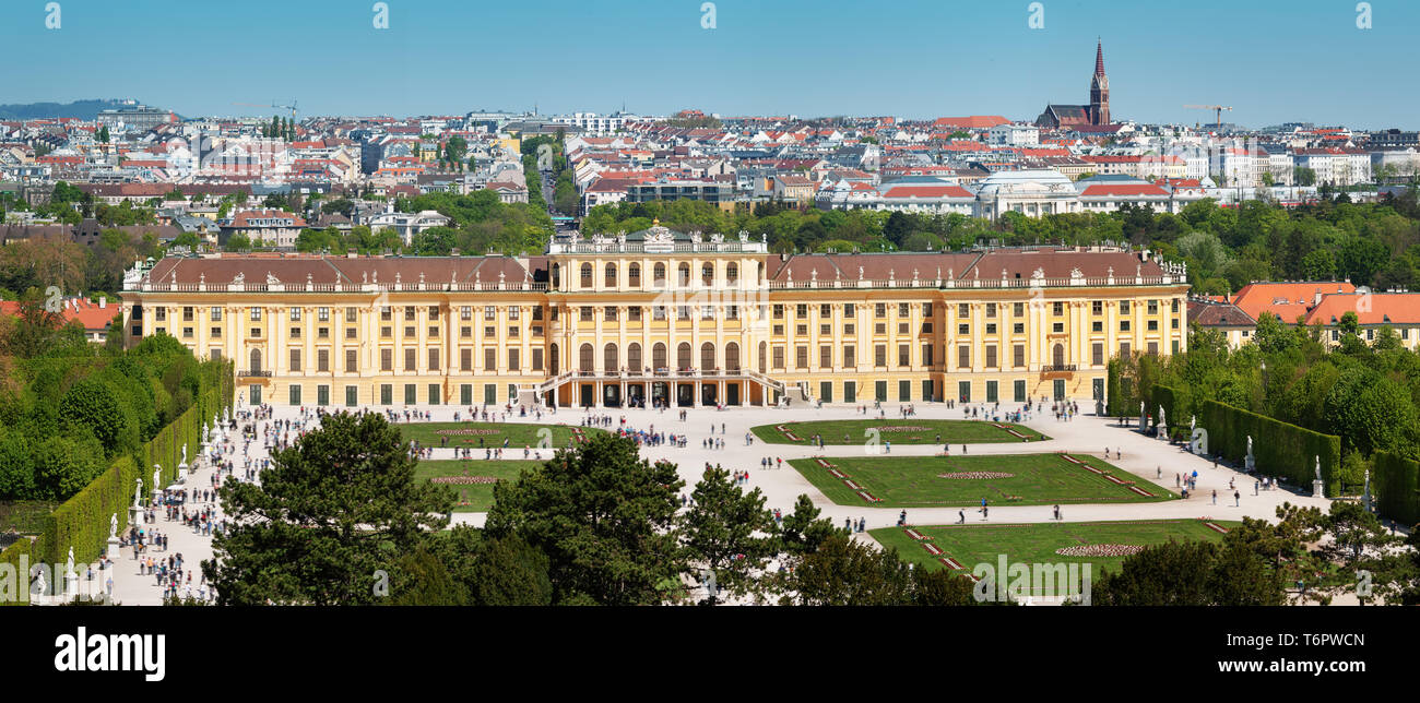 Beautiful park around Schonbrunn palace in Vienna, Austria - Stock Image