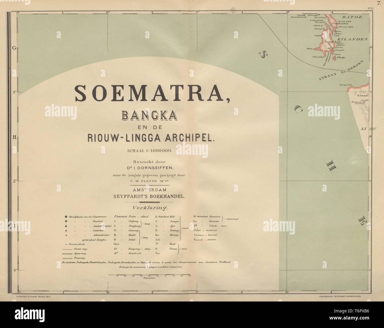 DUTCH EAST INDIES Indonesia SUMATRA Batu islands Siberut DORNSEIFFEN 1902 map - Stock Image
