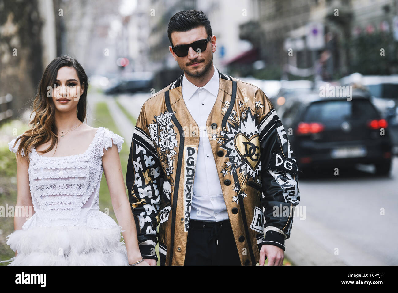 Milan, Italy - February 24, 2019: Street style – Dolce & Gabbana jacket after a fashion show during Milan Fashion Week - MFWFW19 - Stock Image