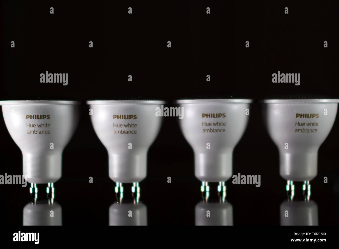 Philips Hue White Ambiance GU10 light bulbs pictured in