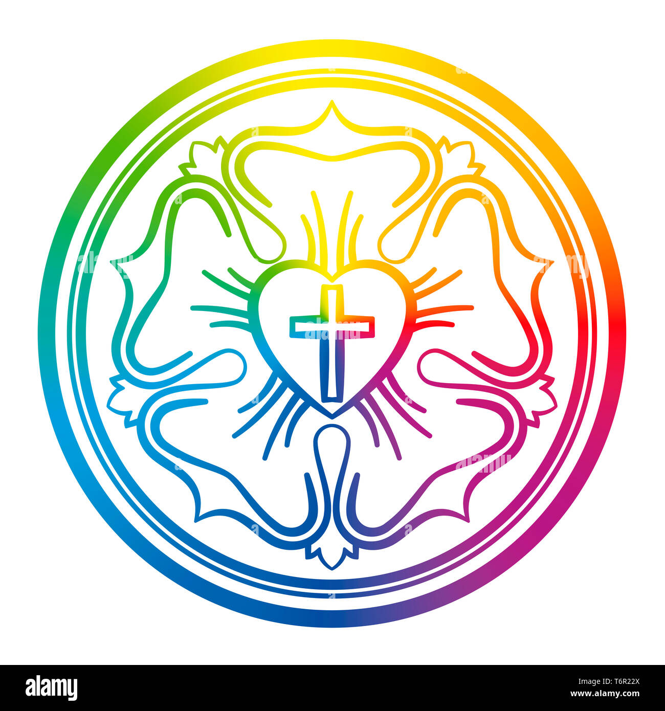 Luther rose symbol. Rainbow colored sign of Lutheranism and protestants, consisting of a cross, a heart, a single rose and a ring. - Stock Image