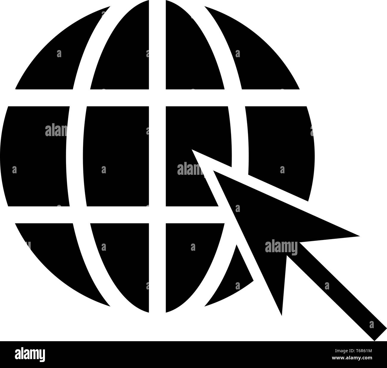 Earth ball and arrow Global web internet concept Sphere and arrow Website symbol icon black color vector illustration flat style simple image - Stock Image