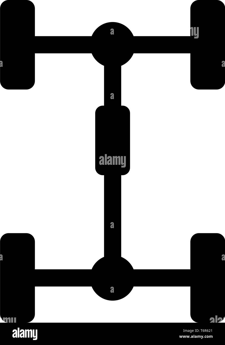 Undercarriage Chassis Carriage for car Vehicle frame icon black color vector illustration flat style simple image - Stock Image