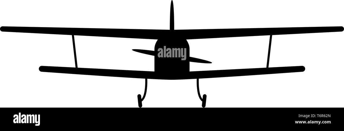 Airplane view with front Light aircraft civil Flying machine icon black color vector illustration flat style simple image - Stock Image
