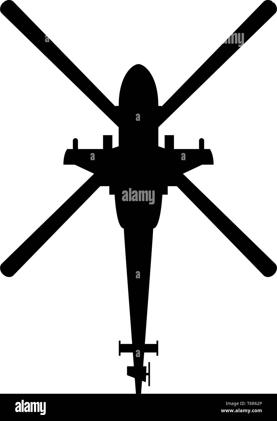 Helicopter top view Battle helicopter icon black color vector illustration flat style simple image - Stock Vector