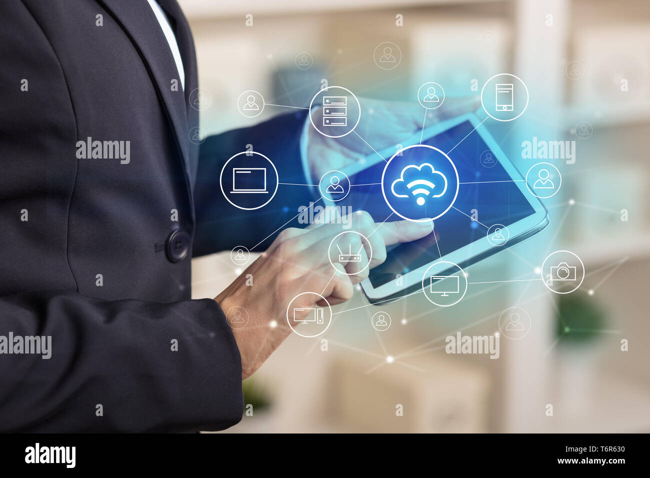 Business woman using tablet with network security and online storage system concept  Stock Photo