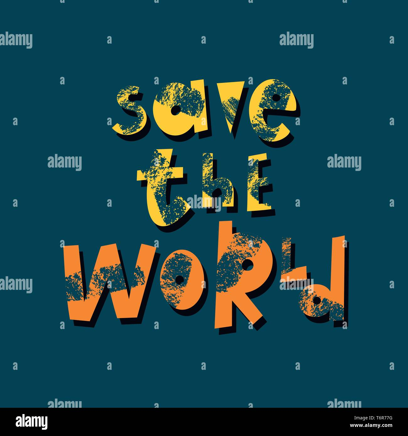 Save the world cartoon lettering  Environment protection, ecology