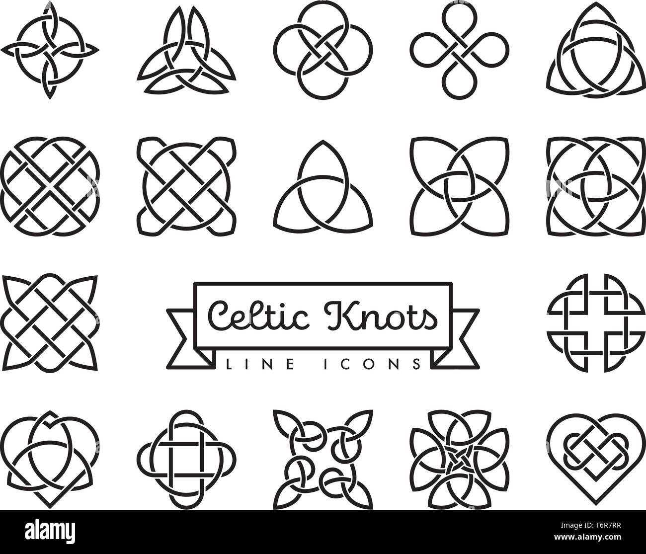 Collection of traditional celtic knots line icons vector illustration. Spirituality, religion and occultism symbols. - Stock Vector
