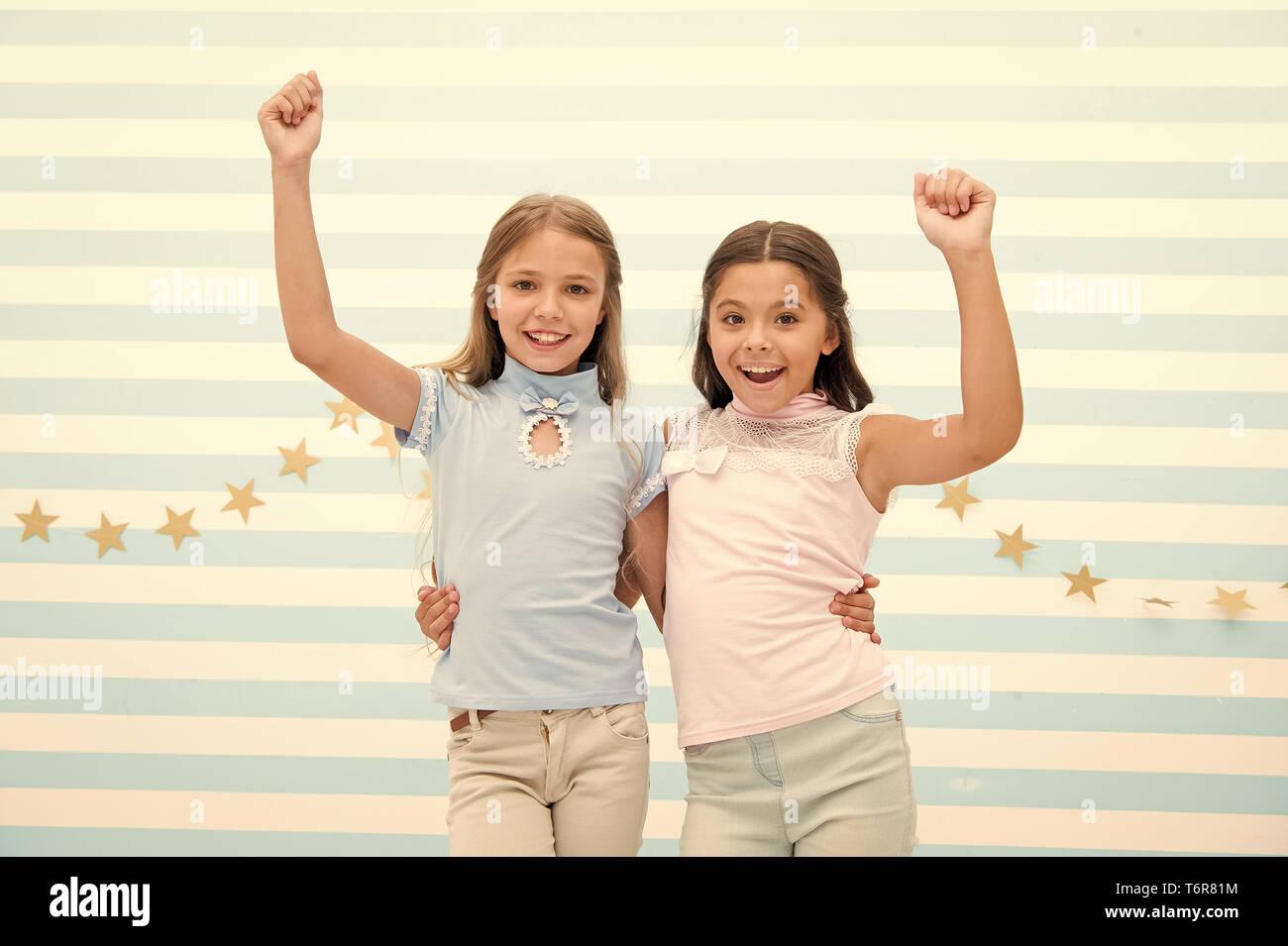 Best Friends Small Happy Girls Embrace As Best Friends Friendship Of Small Girls Meeting With The Best Friend Stock Photo Alamy