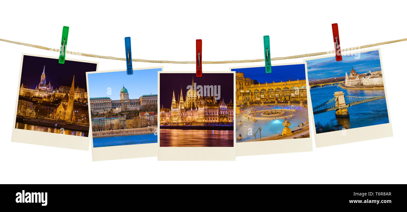 Budapest Hungary travel images (my photos) on clothespins - Stock Image