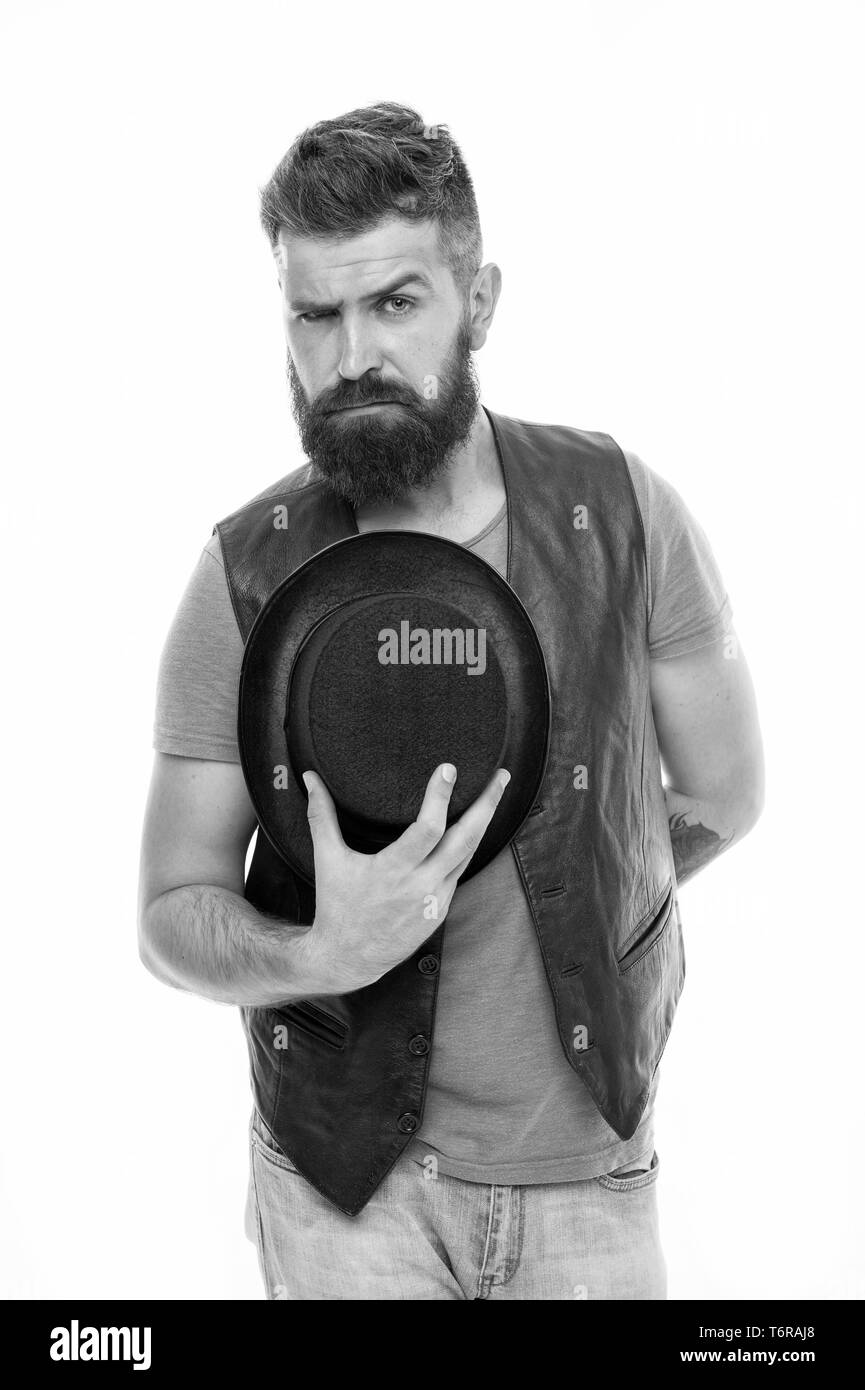 Want some magic trick. Illusionist trick performance concept. Circus magic trick performance. Illusionist circus worker. Applause great artist. Man bearded strict illusionist. Fun with illusionist. - Stock Image