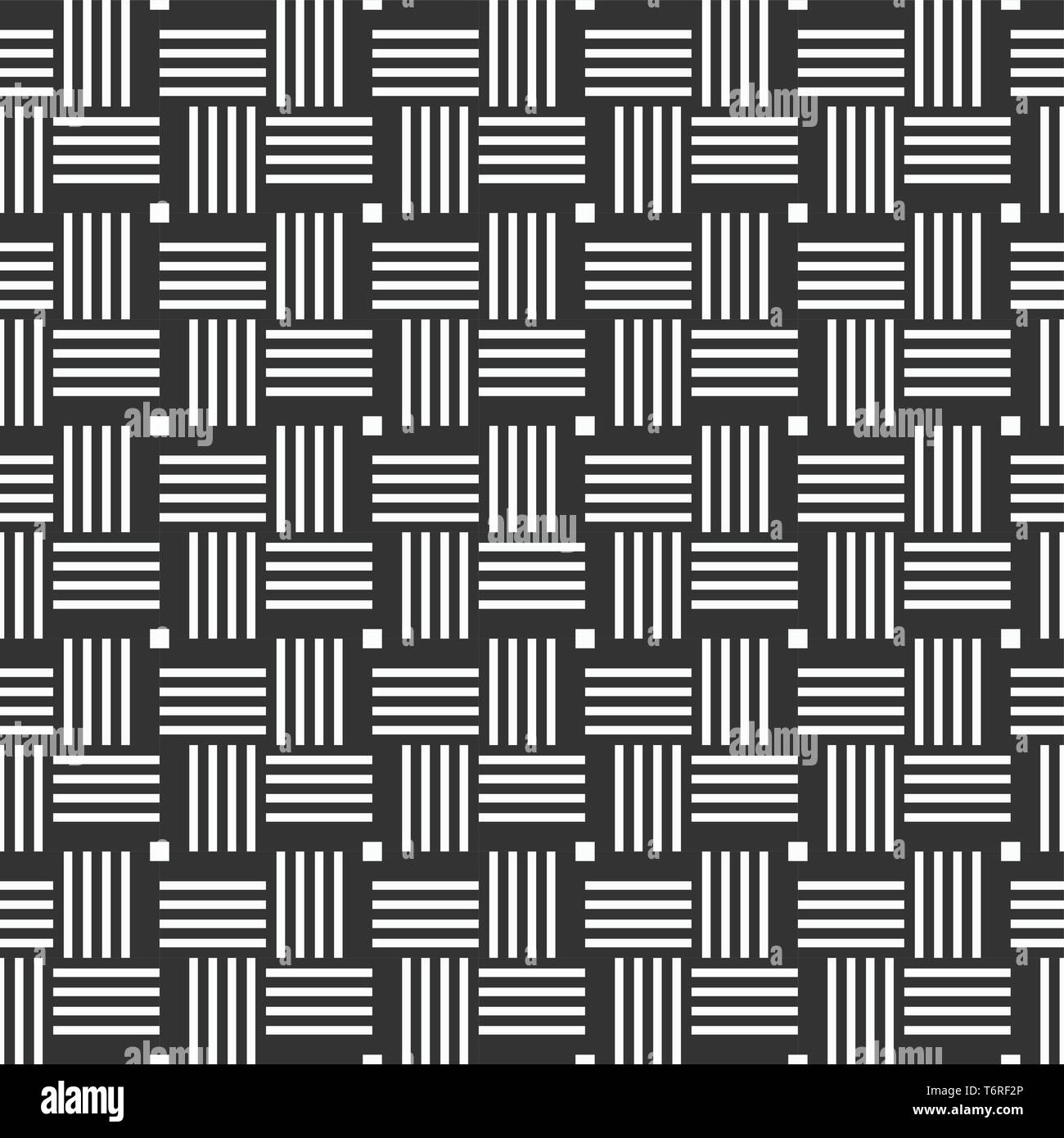 Vector seamless pattern of rectangular stripes. Modern stylish texture. Geometrical lattice. Straight lines. Intertwined bands. Monochrome. - Stock Vector