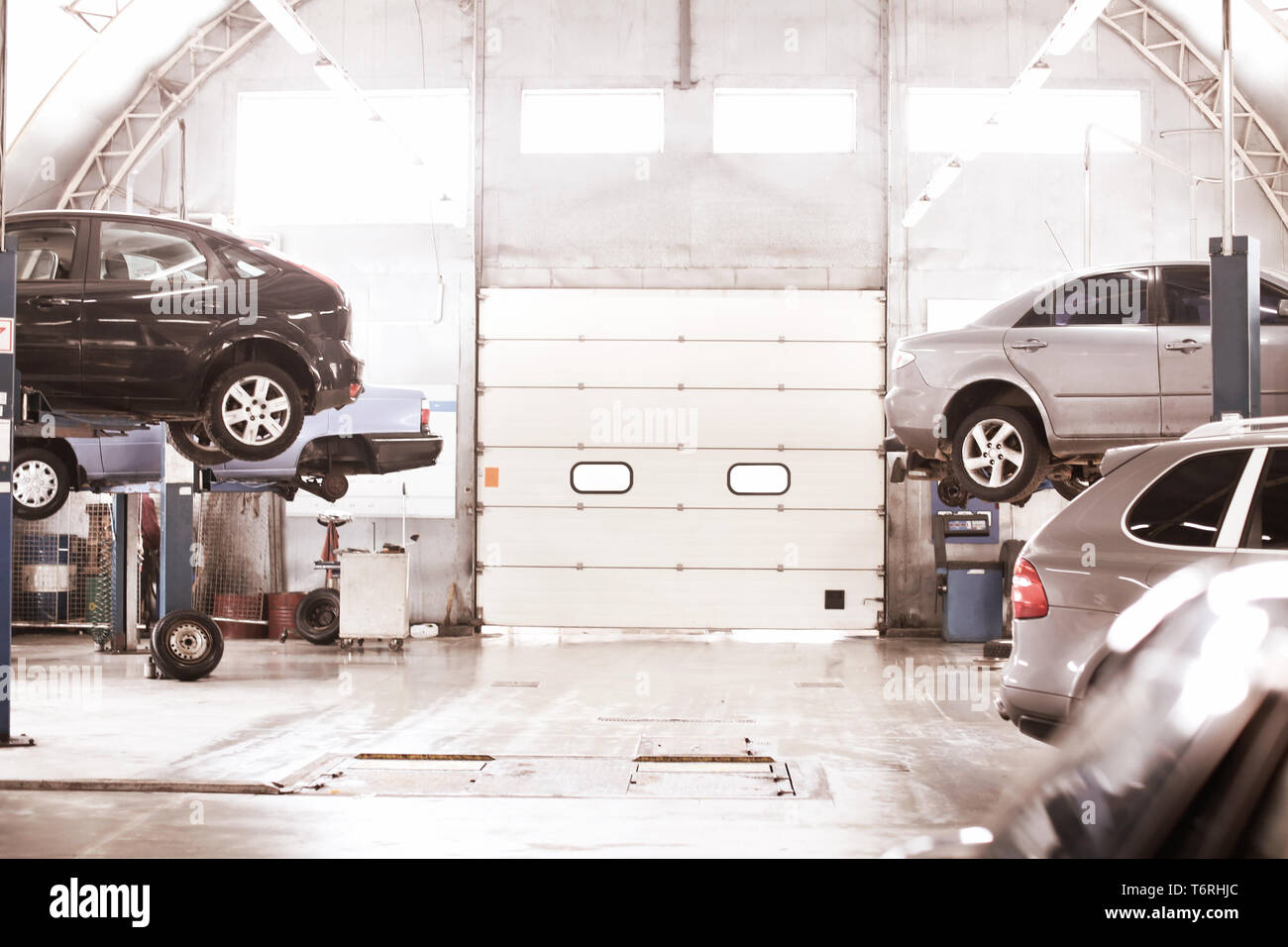 Interior Of Car Service Center With Automobiles Stock Photo Alamy