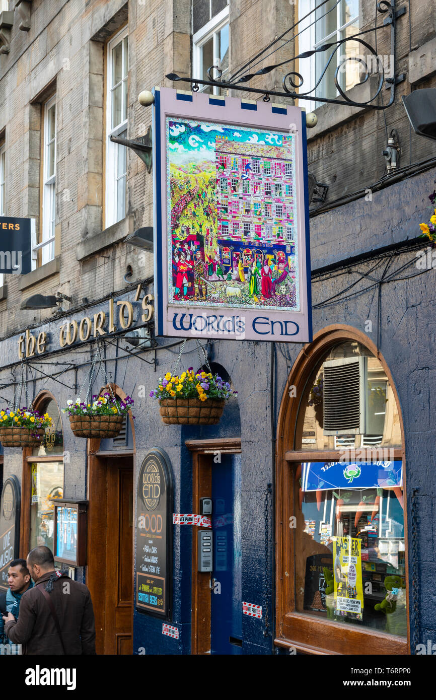 Sign board for The Words End Public House on the High Street in Edinburgh Old Town, Scotland, UK Stock Photo
