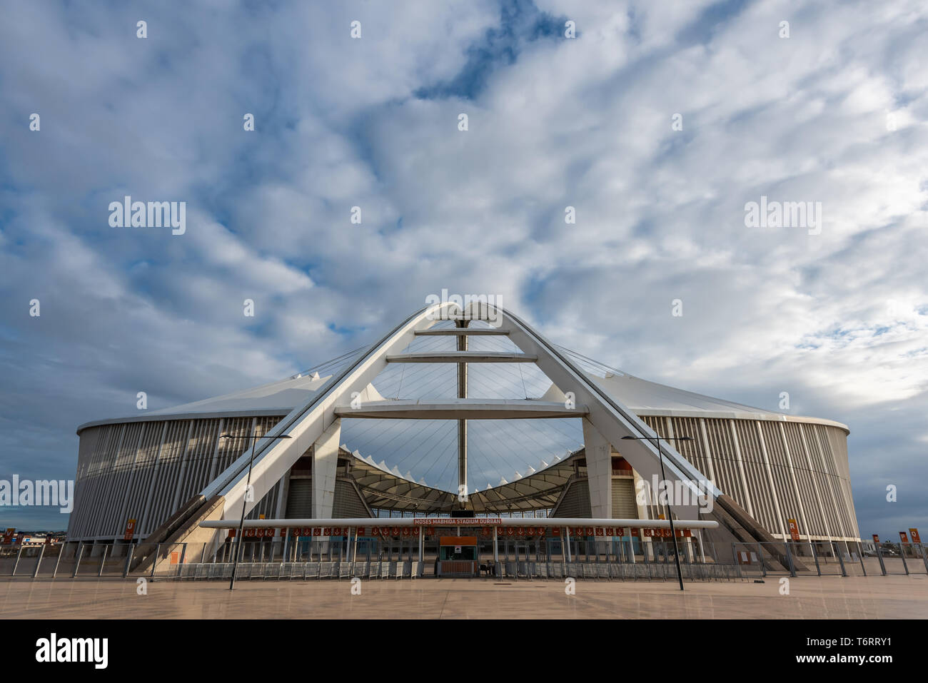 The elegant and inspiring Moses Mabhida Stadium in Durban, South Africa.  The stadium was designed by architect Gerhard le Roux. - Stock Image