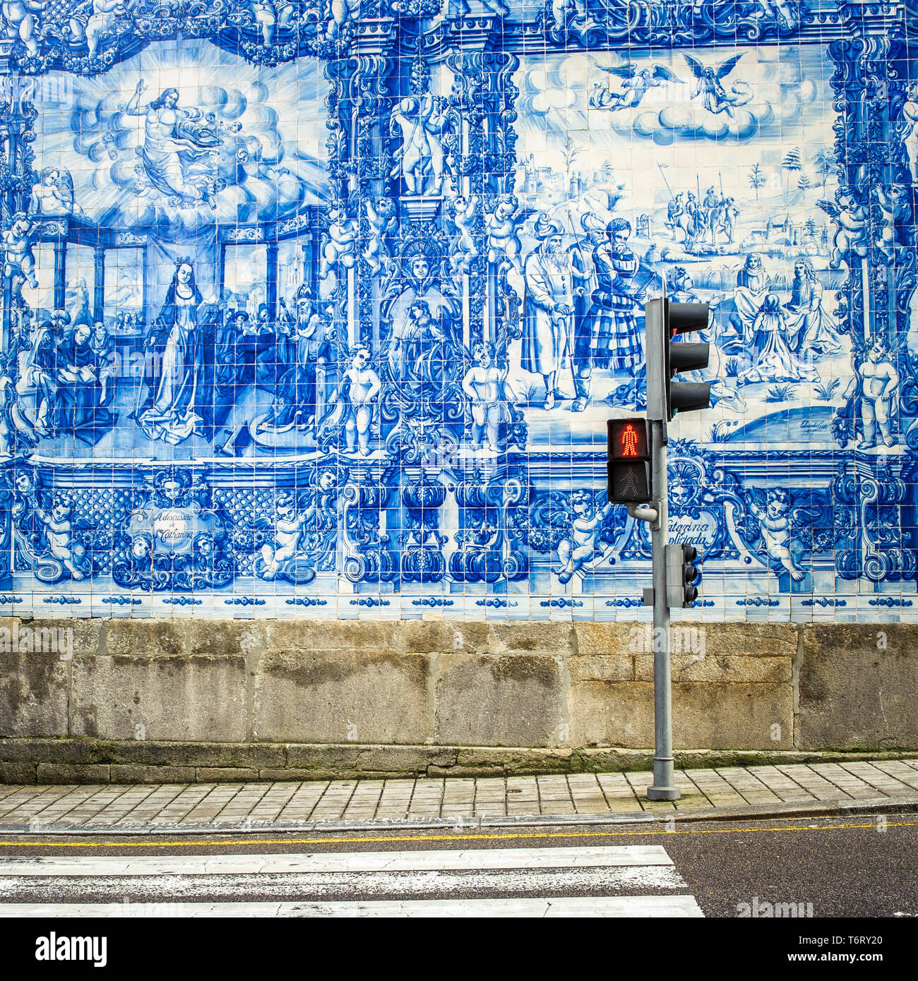 Street of Porto, decorated with azulejos tiles Stock Photo