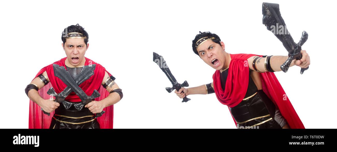 Gladiator holding sword isolated on white - Stock Image