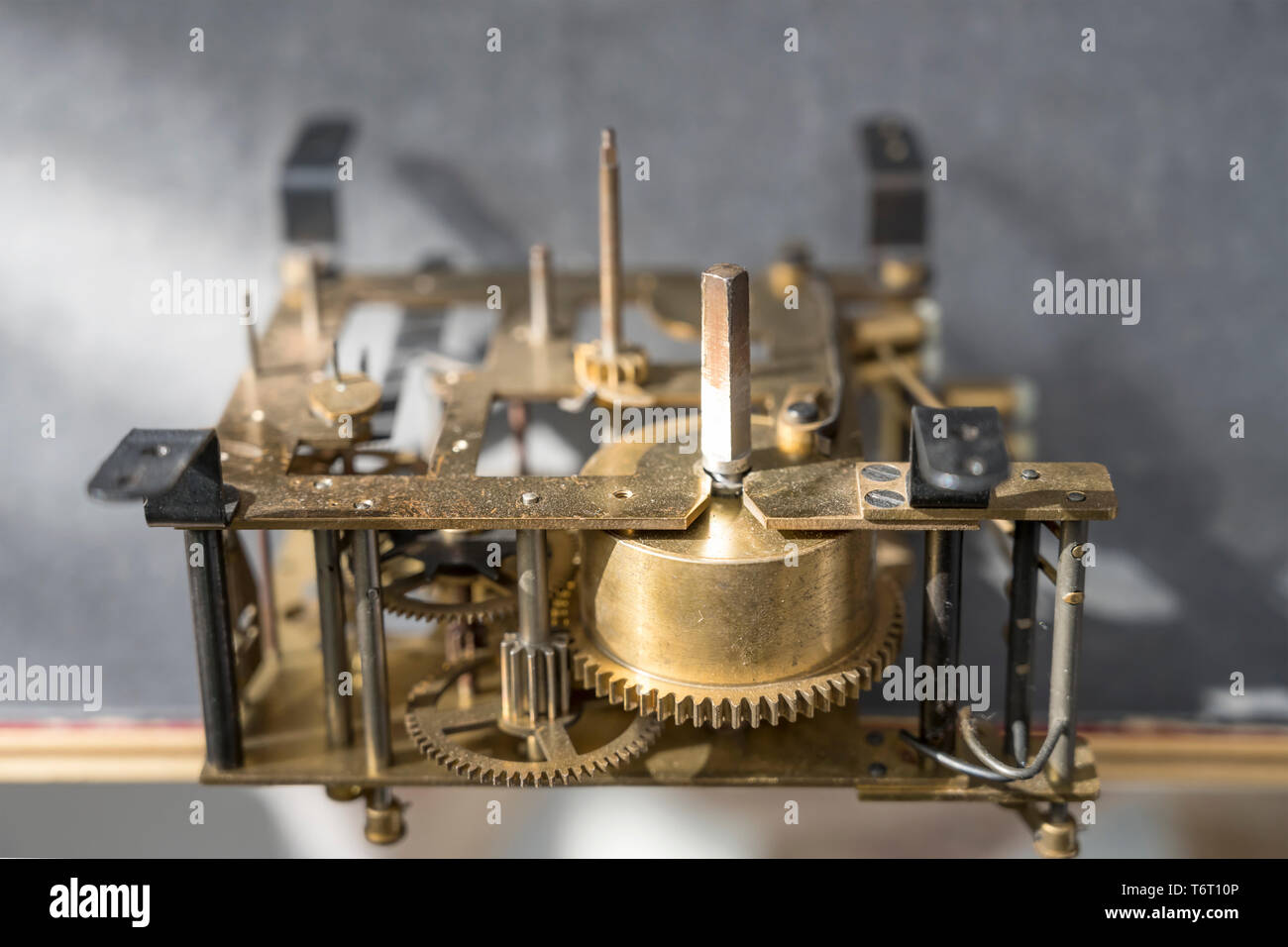 detail of gearwheels of clockwork mechanism, shot at Milan, Italy - Stock Image