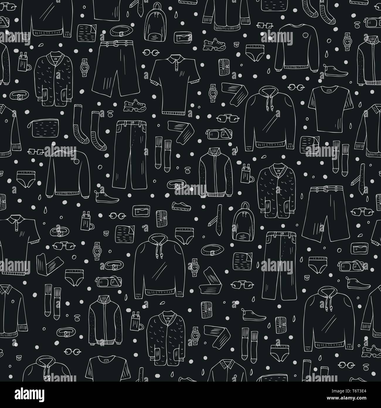 Seamless pattern of men apparel and accessories in doodle