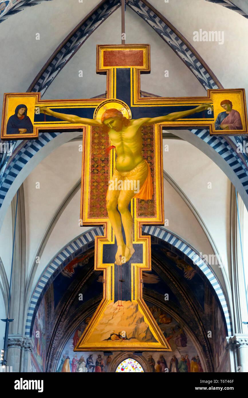 Crucifix,  by Giotto, circa 1288-1289, Basilica di Santa Maria Novella, Church of Santa Maria Novella, Florence, Tuscany, Italy, Europe Stock Photo