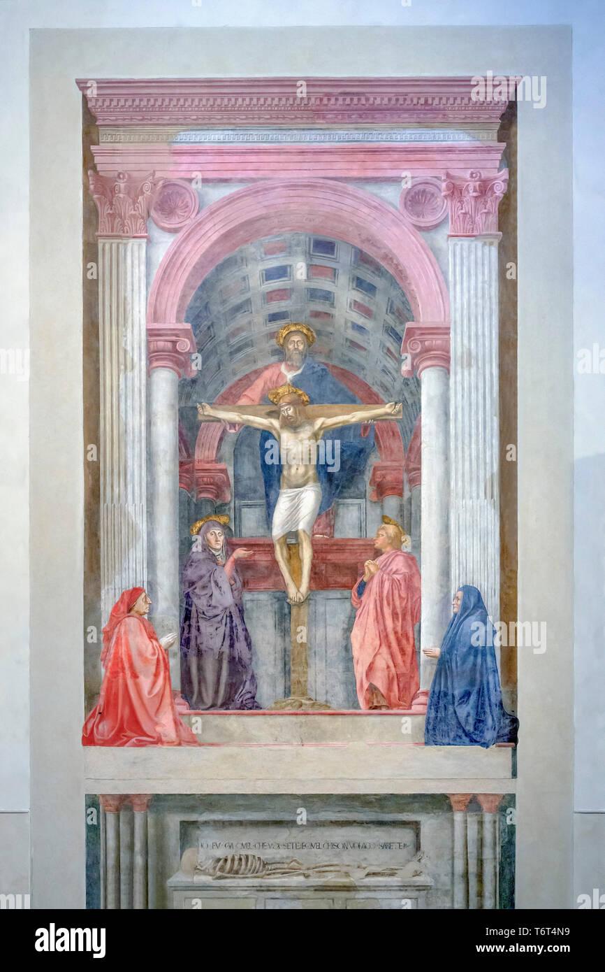 The Holy Trinity, with the Virgin and Saint John and donors,  Masaccio, 1424, Basilica di Santa Maria Novella, Church of Santa Maria Novella, Florence - Stock Image