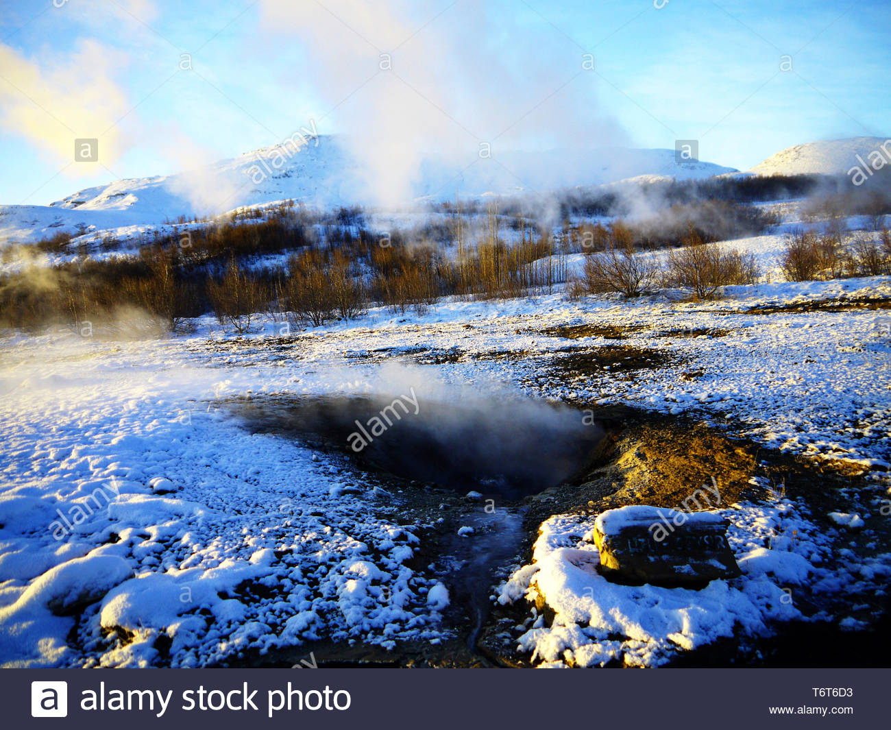 Little Geysir - close up view of Litli Geysir, Haukadalur valley, Southern Iceland, steaming with surrounding meadow covered in snow Stock Photo