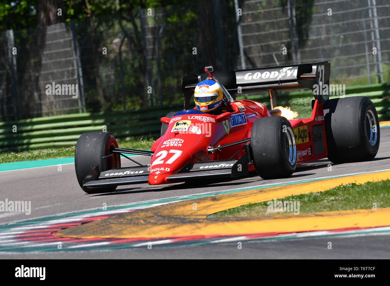 Imola, 27 April 2019: Unknown run with Historic 1984 Ferrari F1 Car model 126 C4 ex Michele Alboreto / René Arnoux in action - Stock Image
