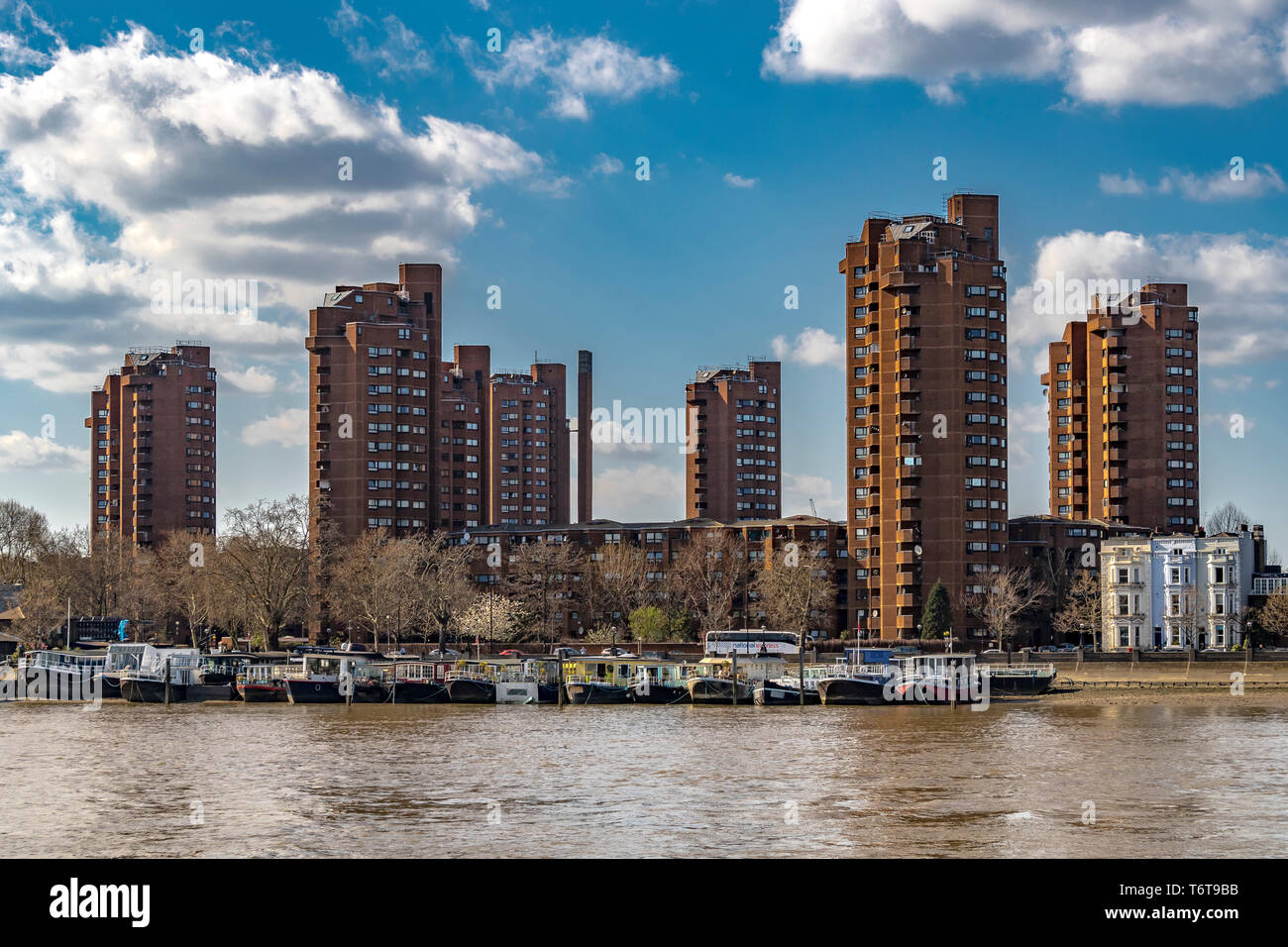 The 7 high-rise tower blocks of The World's End Estate ,Chelsea from across The River Thames Stock Photo