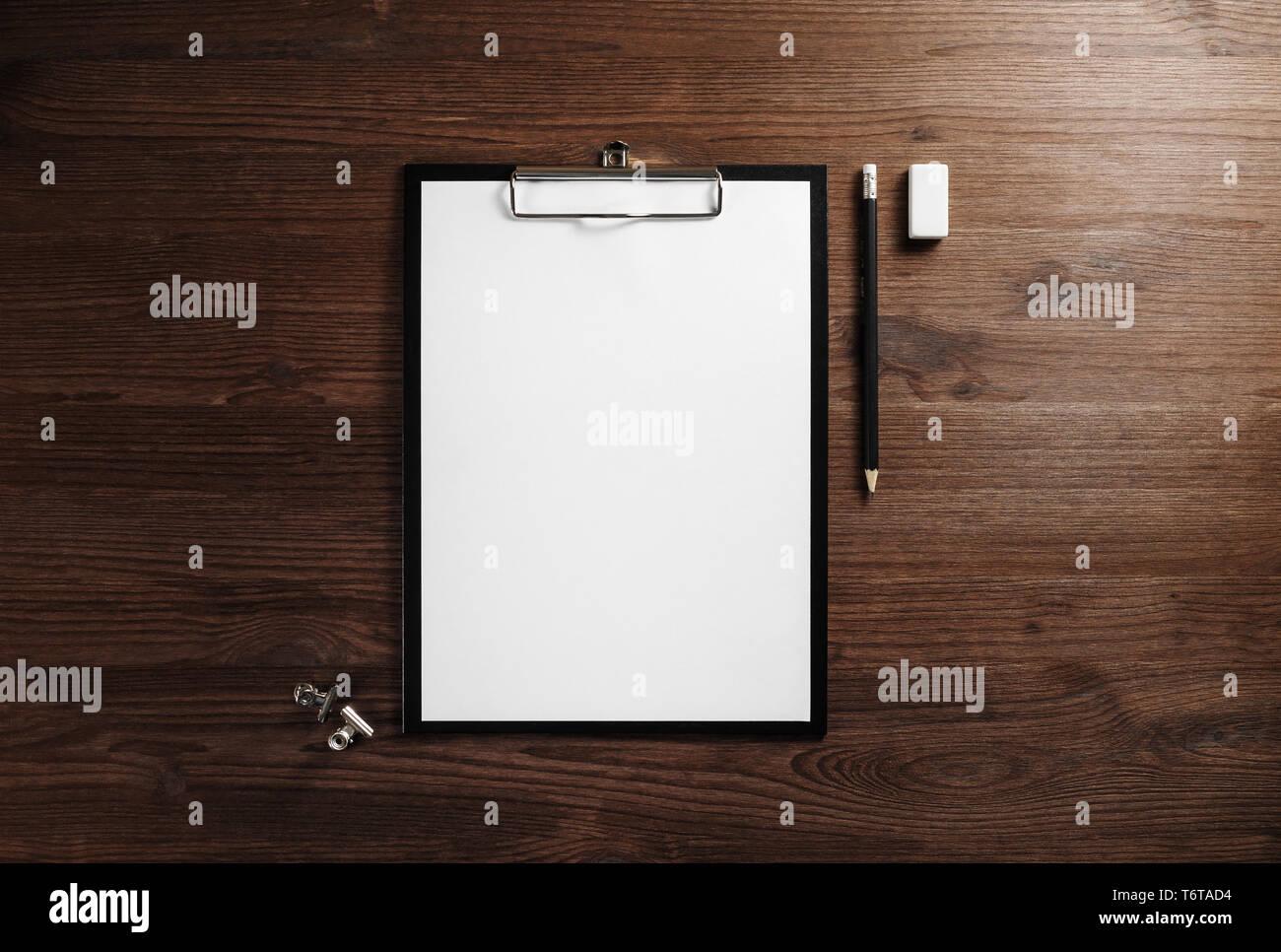 Clipboard, letterhead, pencil, eraser - Stock Image
