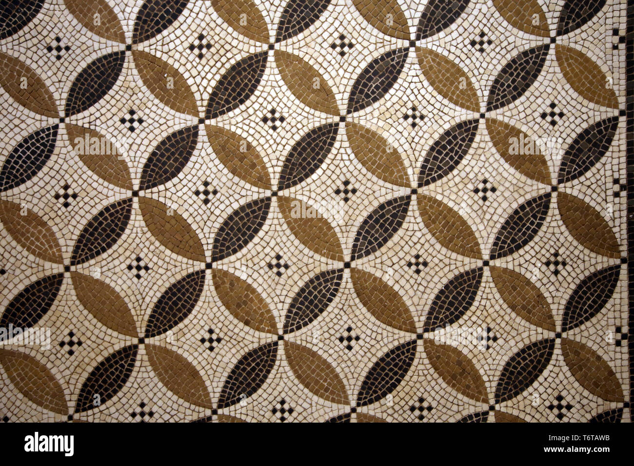 Romans. Geometrical motif. Mosaic of Baco. Detail. Ecija, Andalusia. 3rd cent. Archaeological Museum of Seville. Spain. - Stock Image