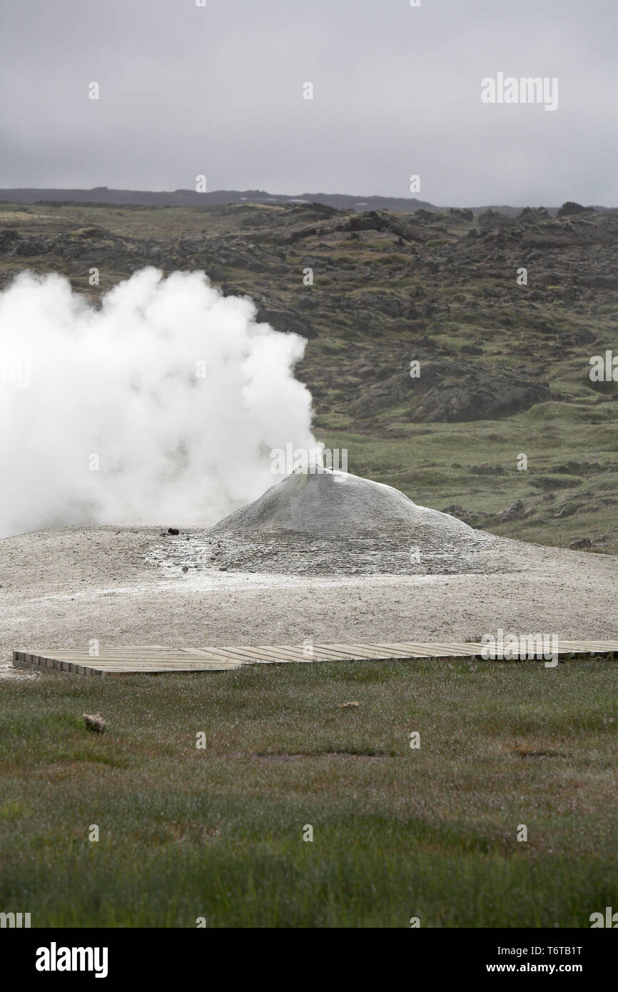 Steam vents and hot springs Hveravellir Iceland July 2009 - Stock Image