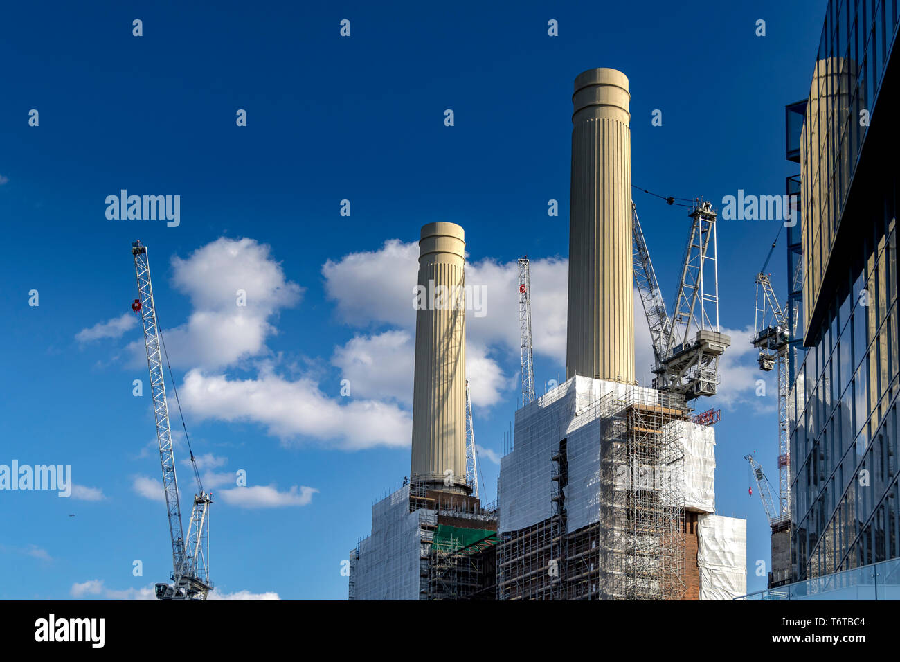 The reconstructed Chimneys of Battersea Power Station currently undergoing major construction work in a multi billion pond redevelopment scheme,London - Stock Image