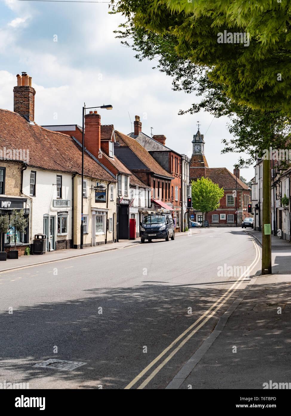 Street view of West Street, Wilton, nr Salisbury, Wiltshire, UK. - Stock Image