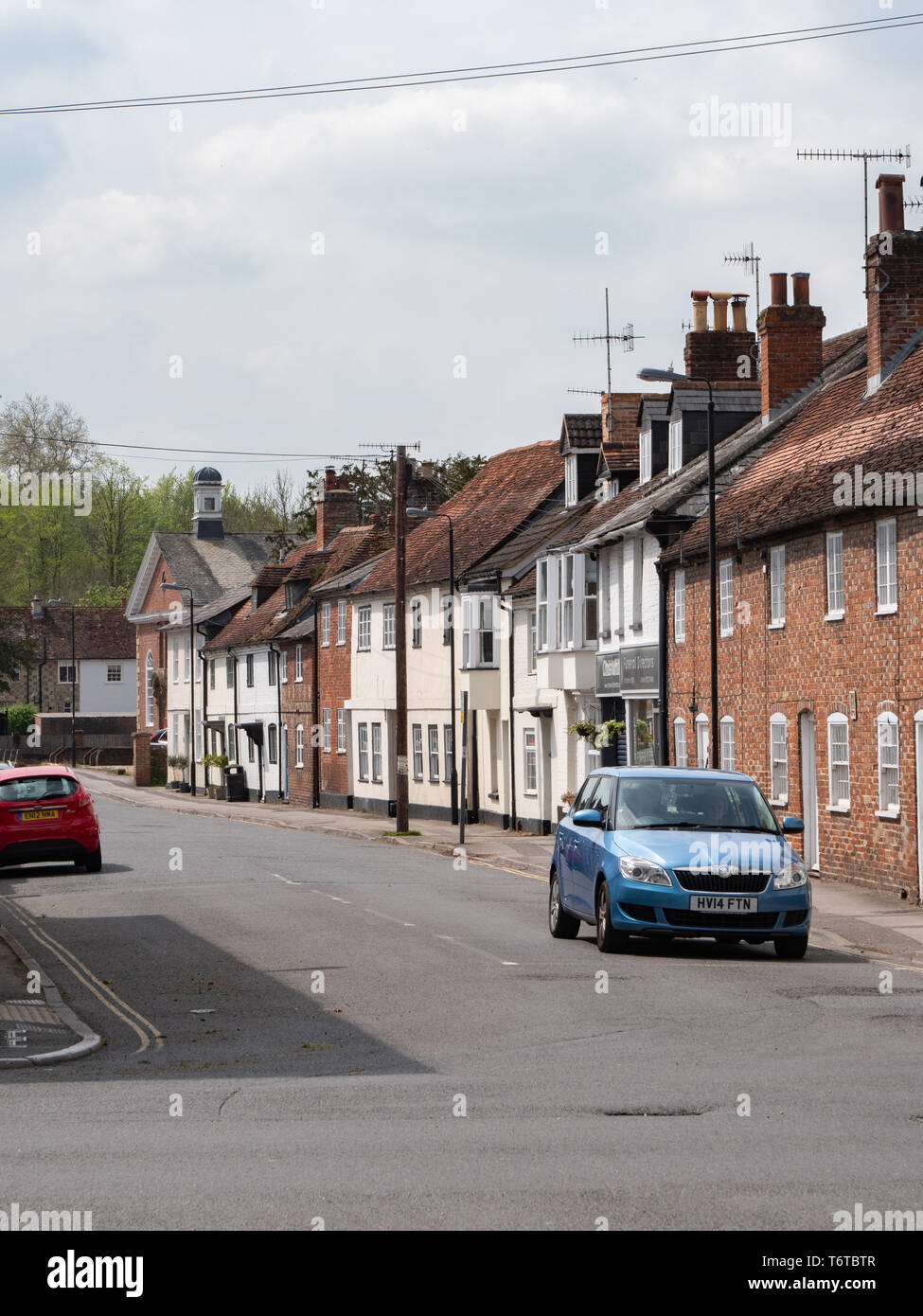 House frontages in South Street, Wilton, Salisbury, Wiltshire, UK. - Stock Image
