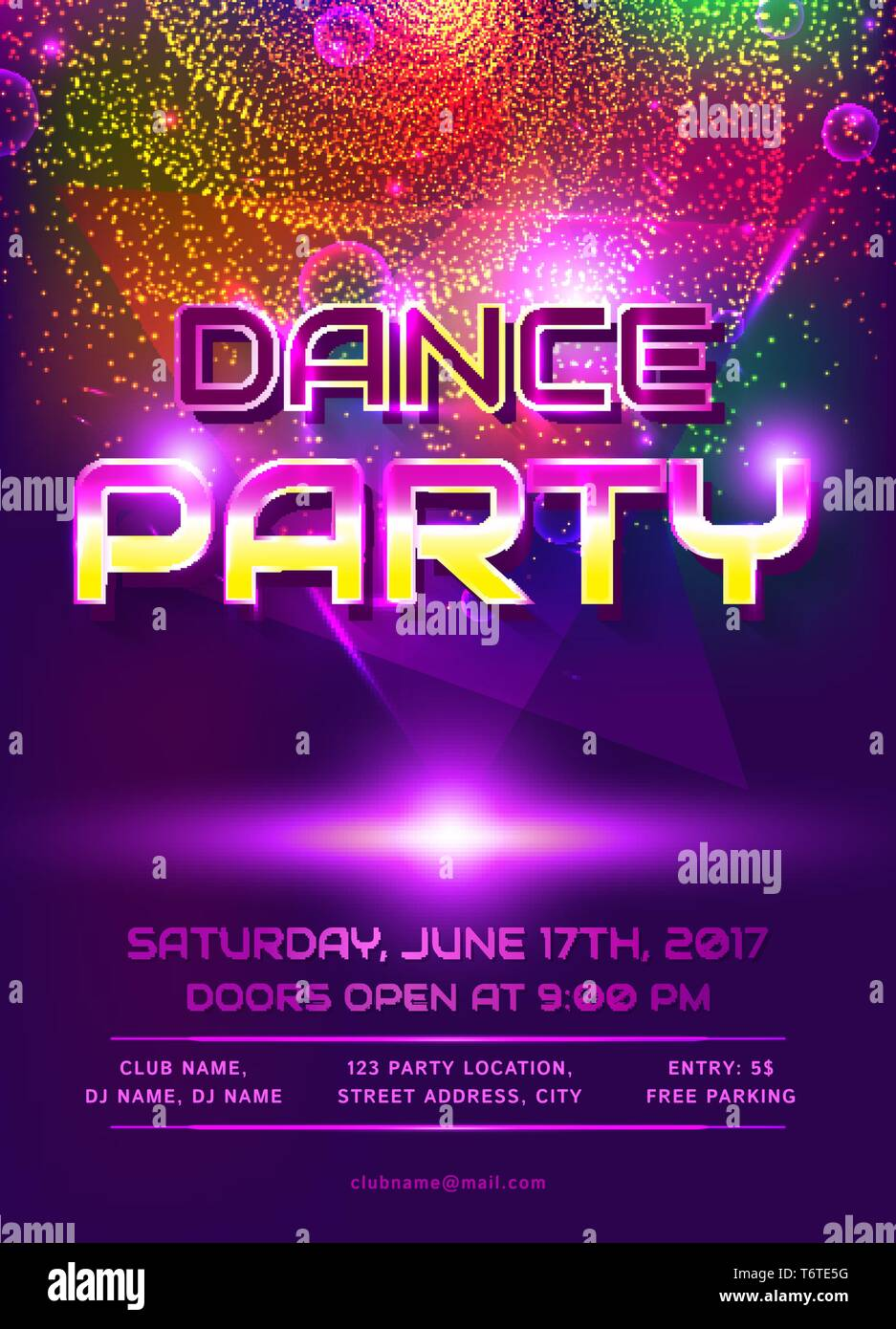 Colorful Flyer For Dance Party Invitation Template With Shiny