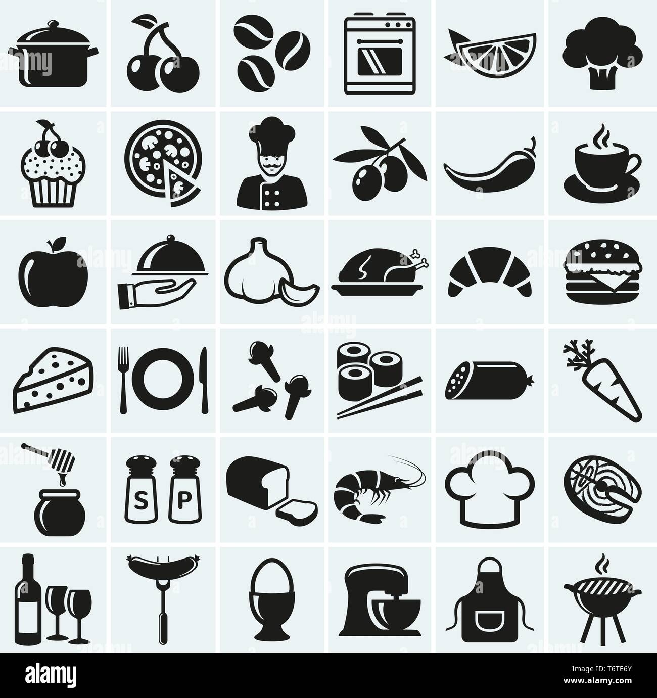 Food and cooking web icons. Set of black symbols for a culinary theme. Healthy and junk food, fruit and vegetables, spices, cooking utensils and more. - Stock Vector