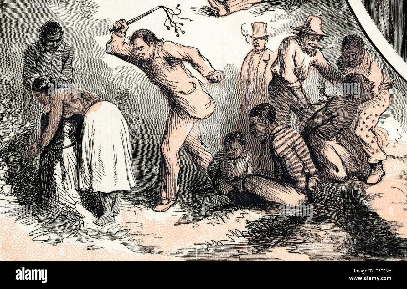 A female slave is whipped and a male slave branded. Detail from the Emancipation, end of the slave trade print by Thomas Nast (artist) & King & Baird (engraver), 1865 - Stock Image