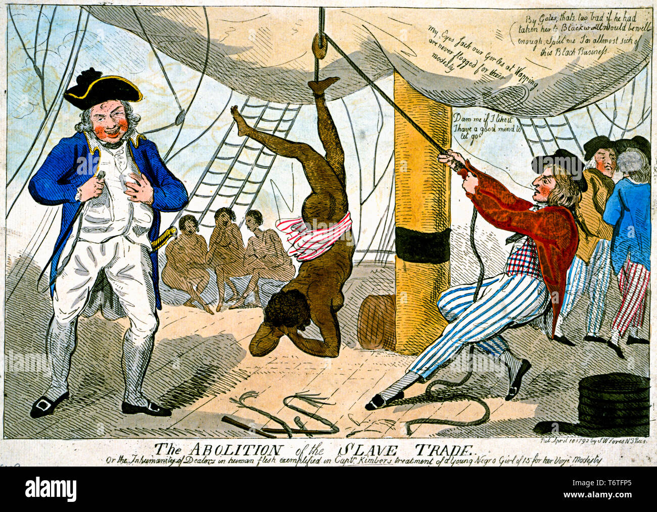 The torture on a slave ship during transportation of a female African slave by a slave trader entitled 'The Abolition of the Slave Trade', print, 1792 - - Stock Image