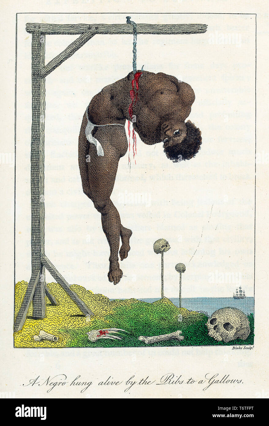William Blake, after John Gabriel Stedman, Slave trade engraving, 'A Negro Hung Alive by the Ribs to a Gallows', hand coloured aquatint print, 1796 - Stock Image