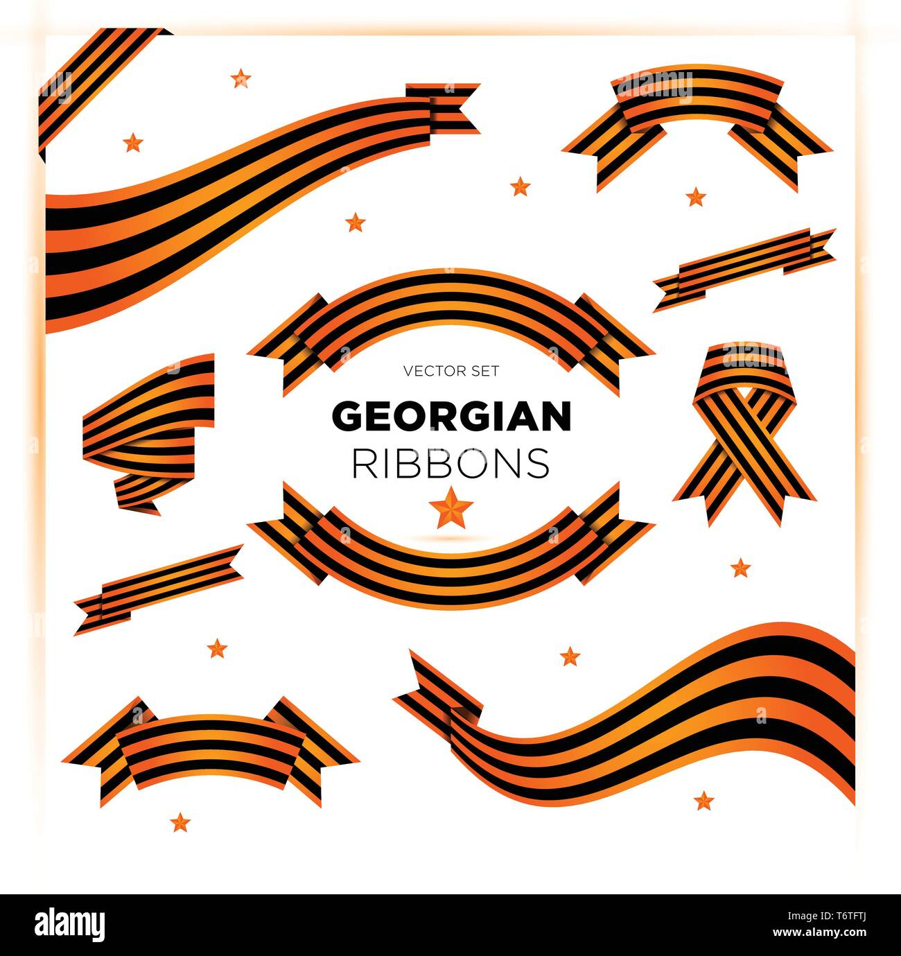 Set of military georgian ribbons for Victory Day and 23 February. - Stock Vector