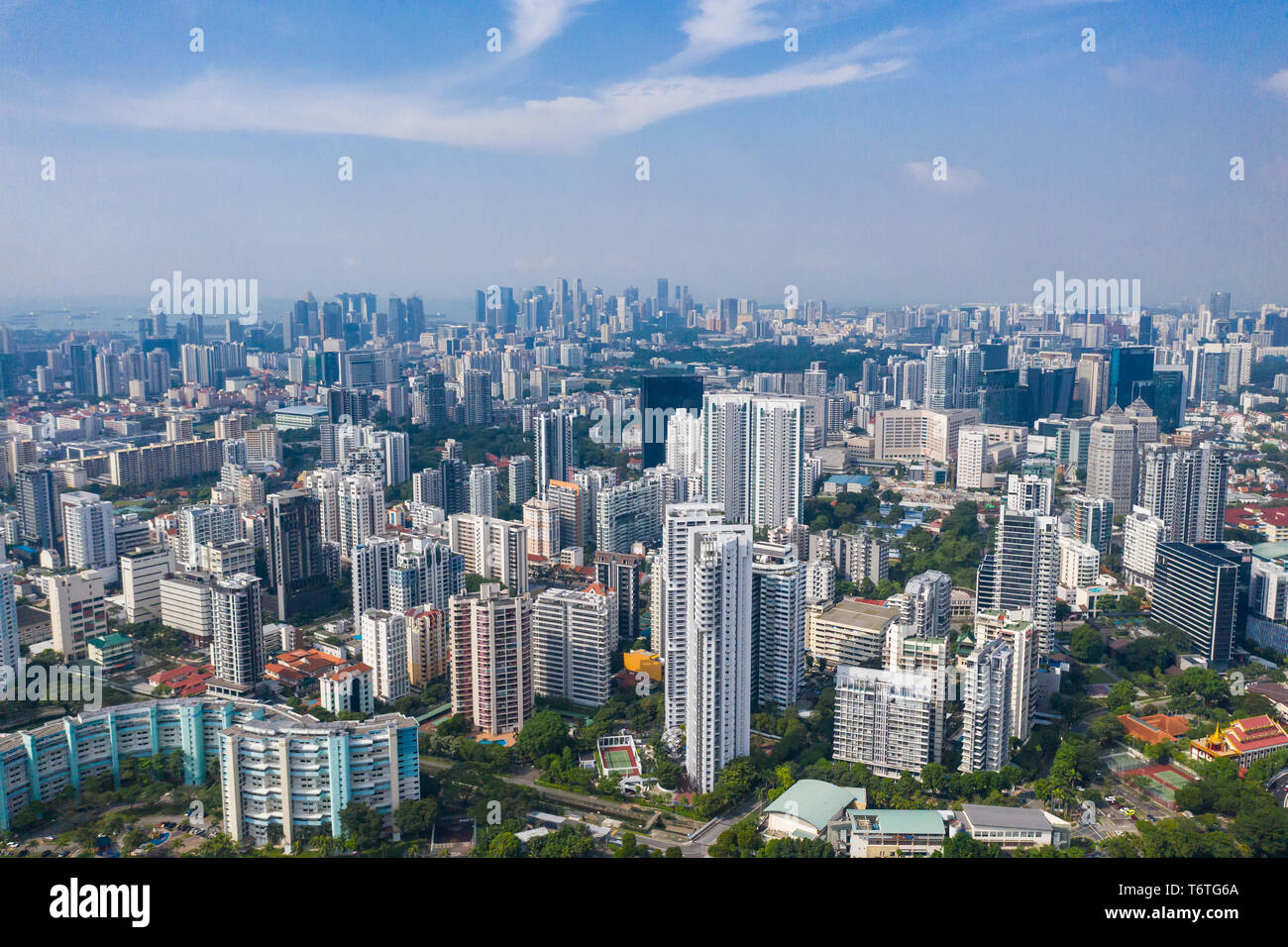Aerial view of southern Singapore's city from Toa Payoh all the way to the city area in the background. - Stock Image