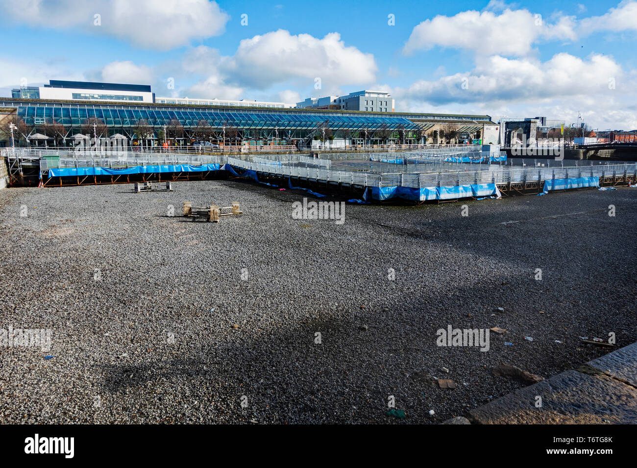 Dublin, Ireland -10 March, 2019. North docklands  Dublin, CHQ shopping mall and dry canal dock. - Stock Image