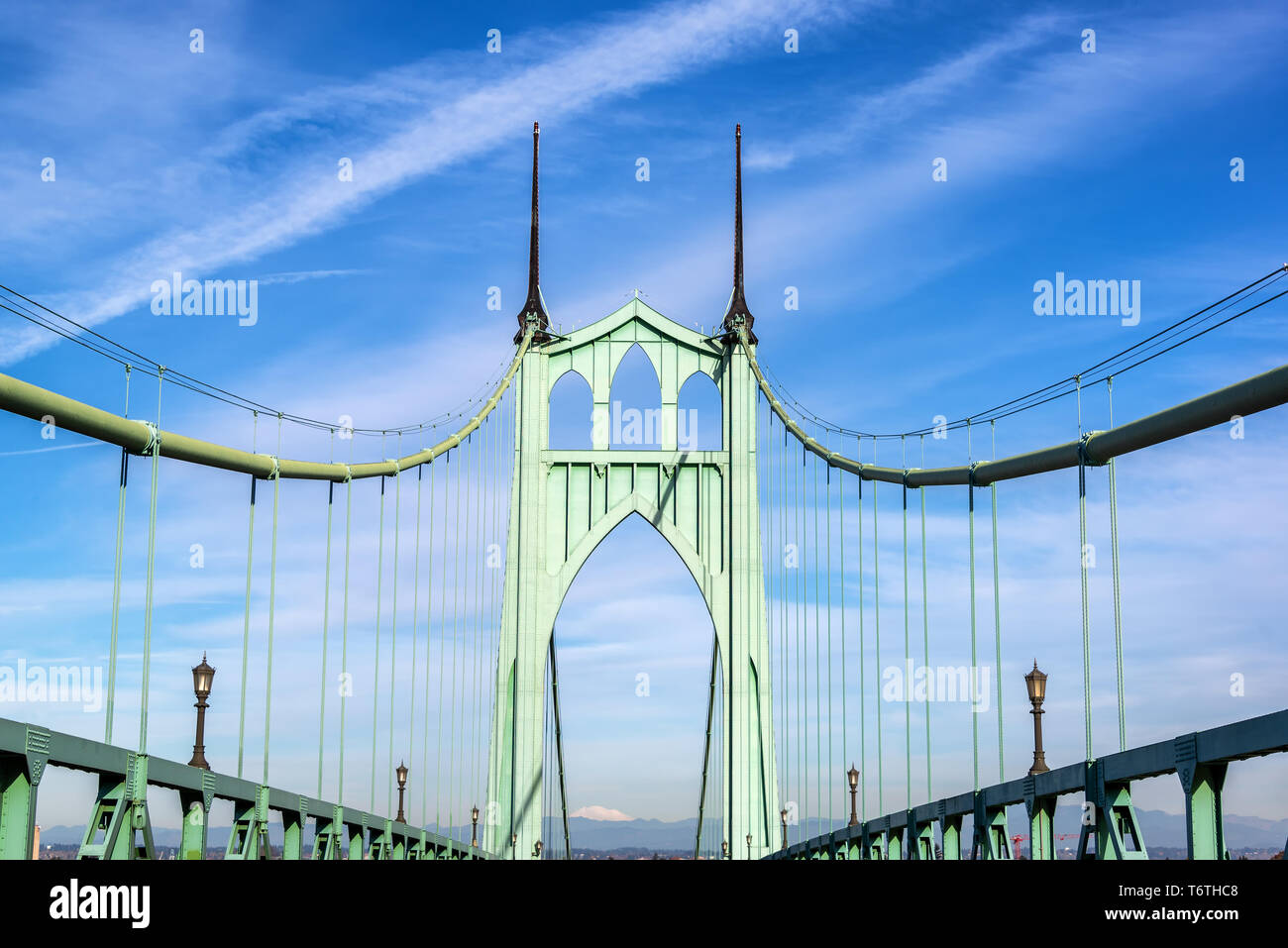 View of the beautiful St. Johns Bridge in Portland, Oregon - Stock Image